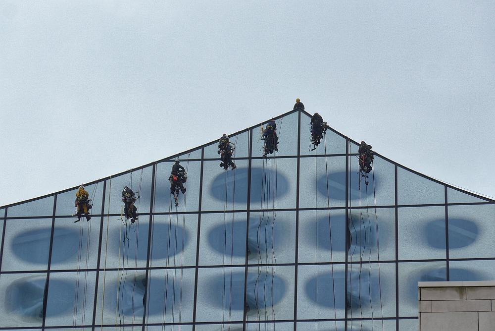 Fensterputzer Elbphilharmonie